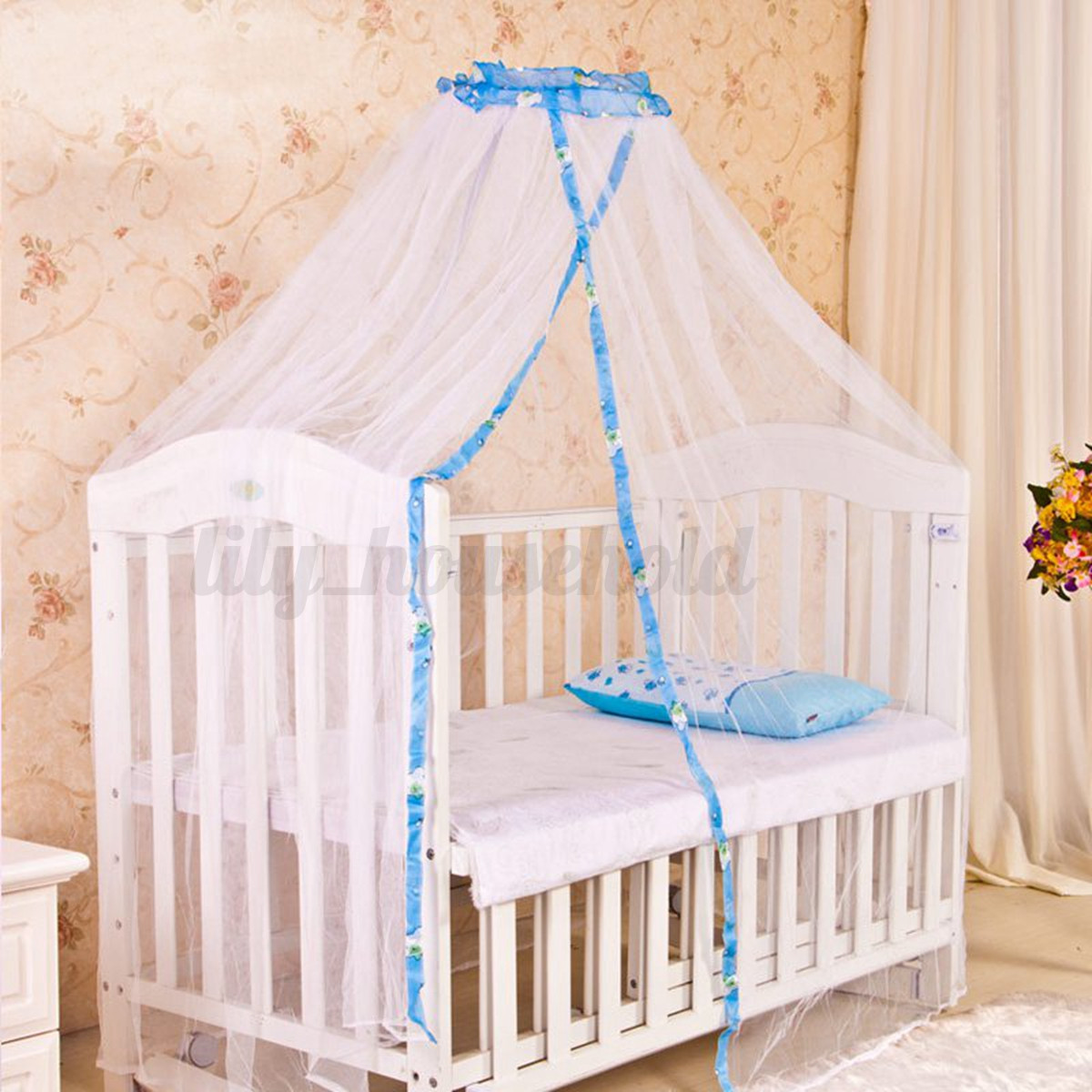 baby moskitonetz himmel babybett insektenschutz insektenschutz gelb blau ebay. Black Bedroom Furniture Sets. Home Design Ideas