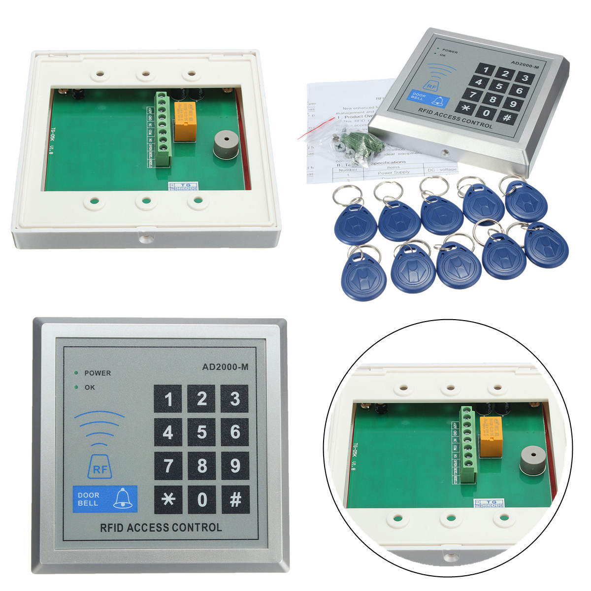 10 Keys 500 User AD2000M Security RFID Proximity Entry Door Lock – Keys Can Access Control Wiring Diagram
