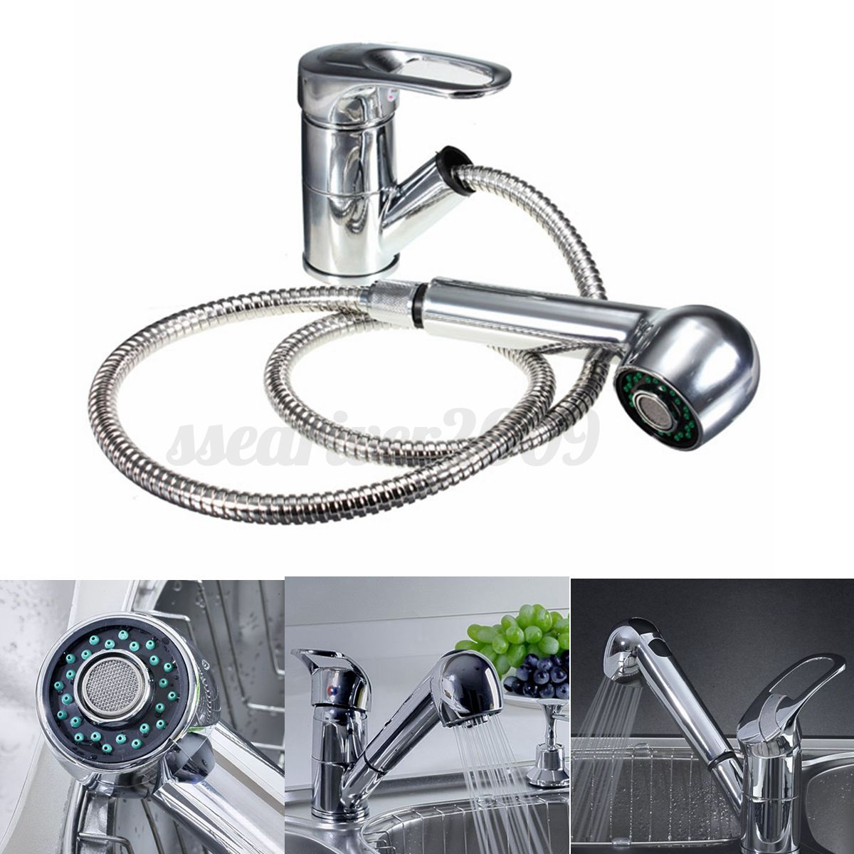 Bathroom Kitchen Sink Lever Mixer Tap Pull Out Swivel Spray Spout ...