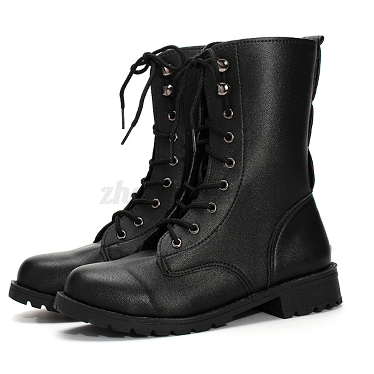 AU Womens Shoes Mid Calf Leather Gothic Martin Boots Lace Up Zip Military Shoes*