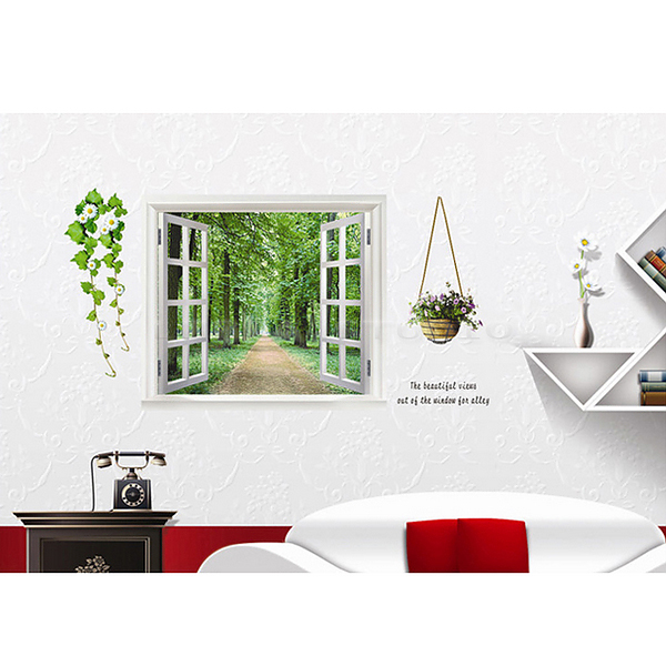 wandtattoo wandsticker wandaufkleber 3d fenster wandbilder kinderzimmer wanddeko ebay. Black Bedroom Furniture Sets. Home Design Ideas