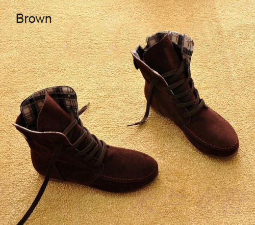 Womens Ankle Boots Lace Up High Top Flat Wedge Shoes Winter Sneakers US6.5-10