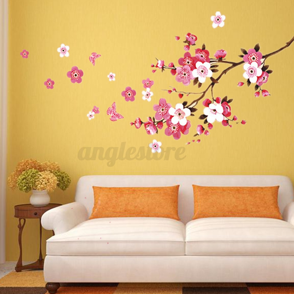 90 X 22 Large Vine Butterfly Wall Decals Removable: Large Sakura Flower Removable Wall Sticker Paper Mural Art