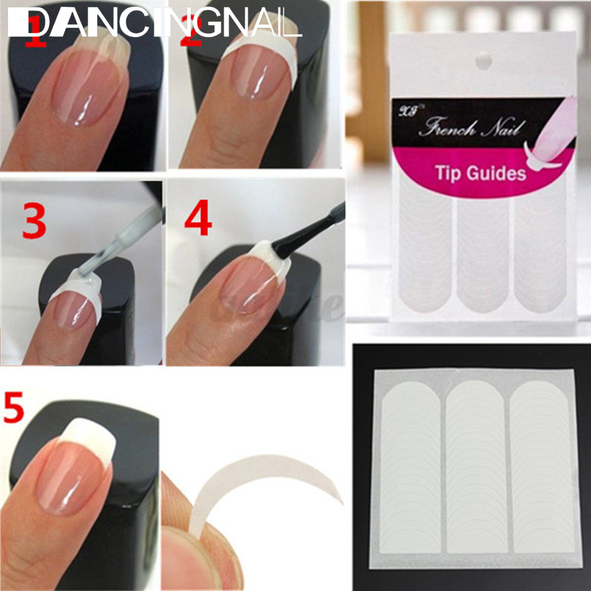 500pcs/Roll Nail Art Tips Extension Nail Forms Tip Guide Sticker ...