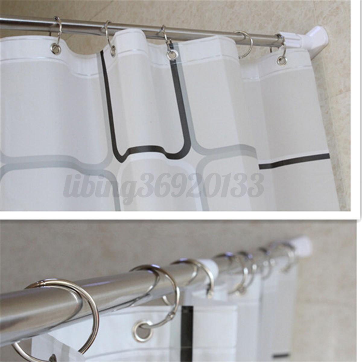 28 48 stainless adjustable tension door room bathroom shower curtain pole rod. Black Bedroom Furniture Sets. Home Design Ideas