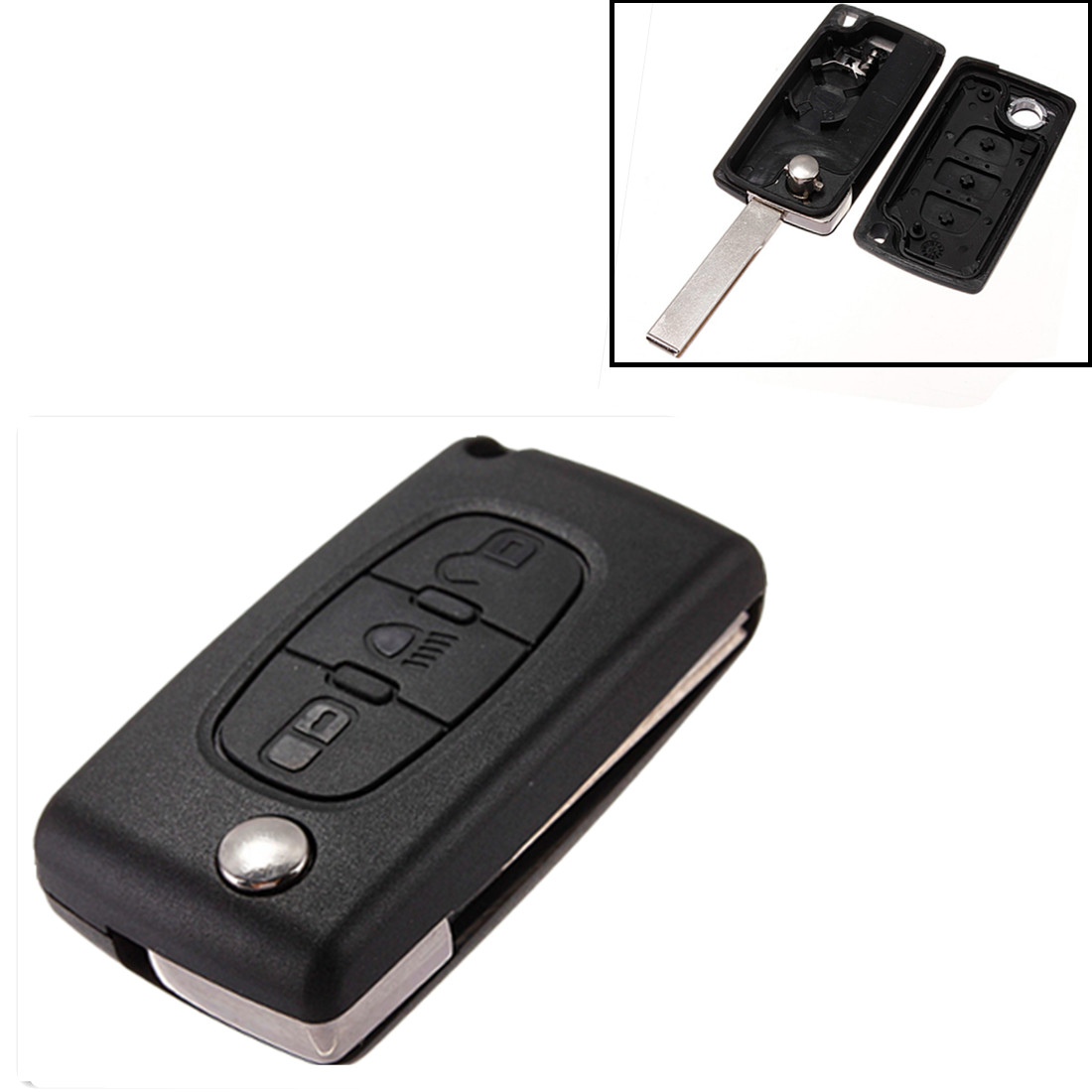 remote key fob case battery clip for citroen c2 c3 berlingo picasso 3 button ebay. Black Bedroom Furniture Sets. Home Design Ideas