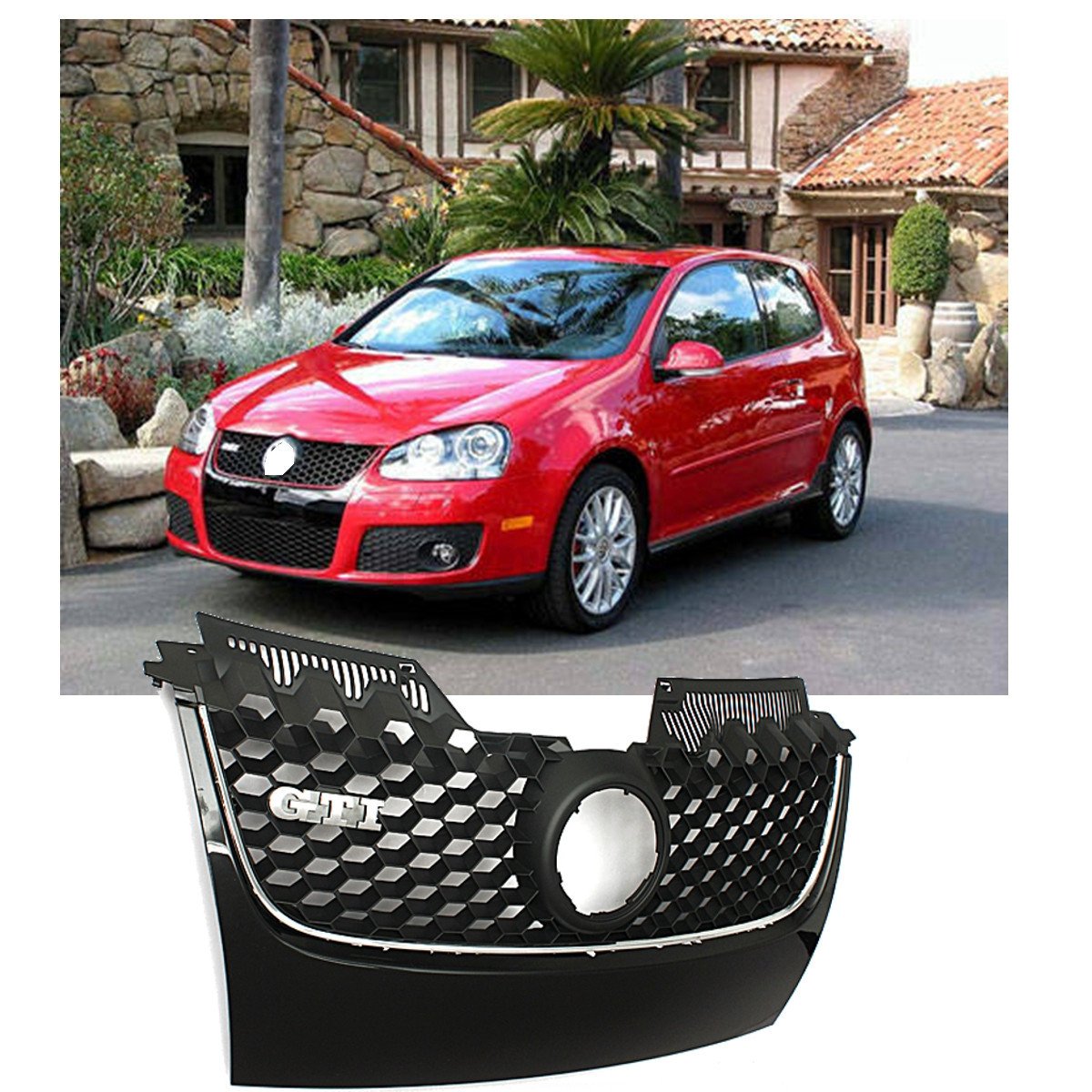 Gloss Black Front Bumper Grill Grille For VW Golf Jetta