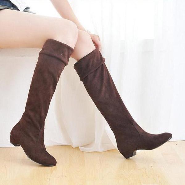 Mujer-Botas-de-invierno-otono-Moderno-Zapato-plano-Sobre-Rodilla-Altas-PIERNAS