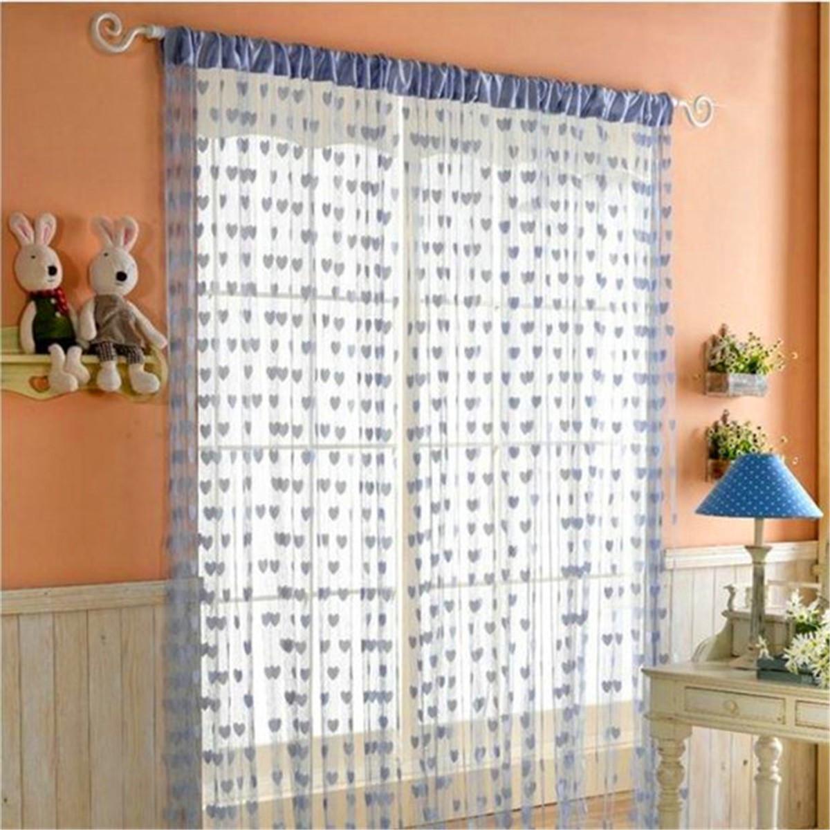 rideau fils fil voilage porte fen tre mod le coeur frange d cor 200x100cm ebay. Black Bedroom Furniture Sets. Home Design Ideas