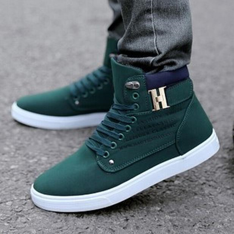 Fashion-Mens-Oxfords-Casual-High-Top-Shoes-Leather-Shoes-Canvas-Sneakers-New thumbnail 3