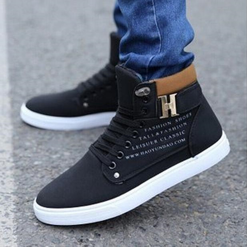 Fashion-Mens-Oxfords-Casual-High-Top-Shoes-Leather-Shoes-Canvas-Sneakers-New thumbnail 4