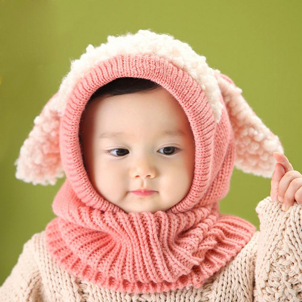 Winter Beanie Baby Kids Boy&Girl Warm Hat Hooded Scarf Earflap ...