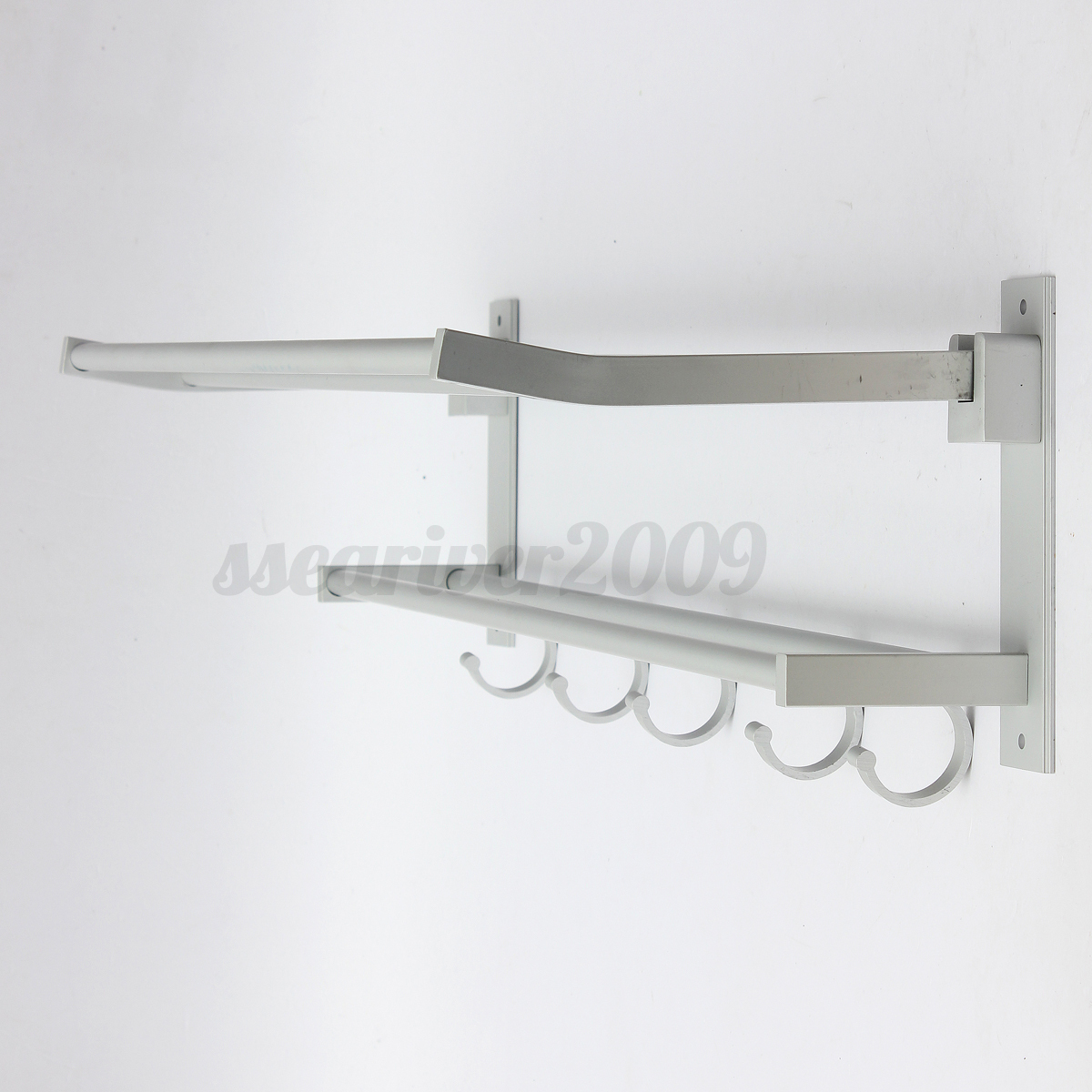 Bathroom Wall Hooks Towels: Wall Mounted Towel Rack Holder Hook Hanger Bar Shelf Rail