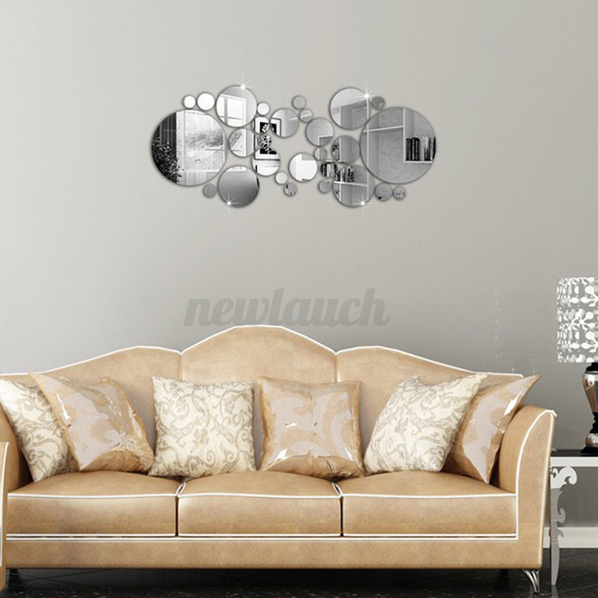 Wall Decor Silvers: Removable Silver Acrylic 3D Mirror Wall Stickers DIY Home
