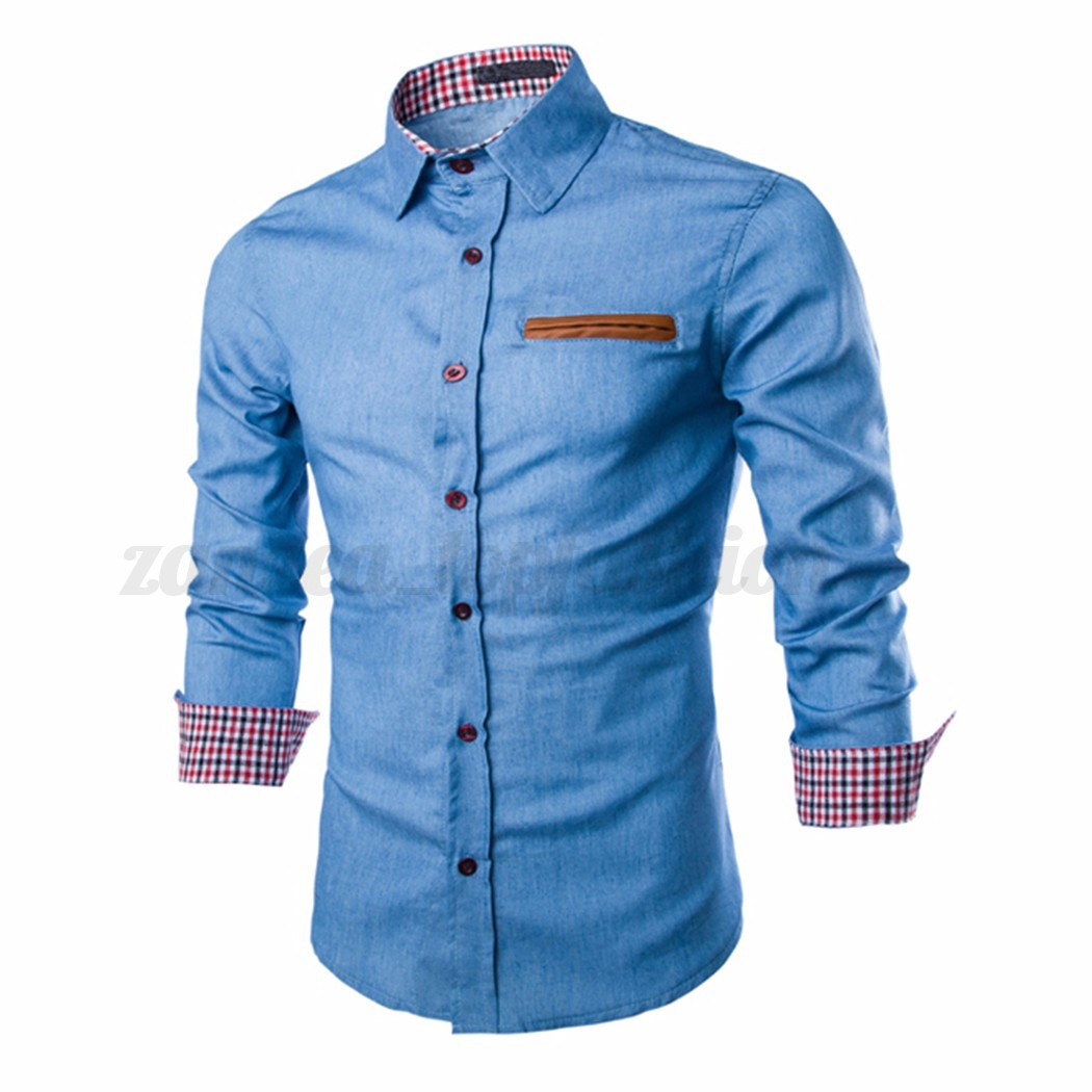 Men 39 S Denim Washed Casual Shirt Long Sleeve Slim Fit