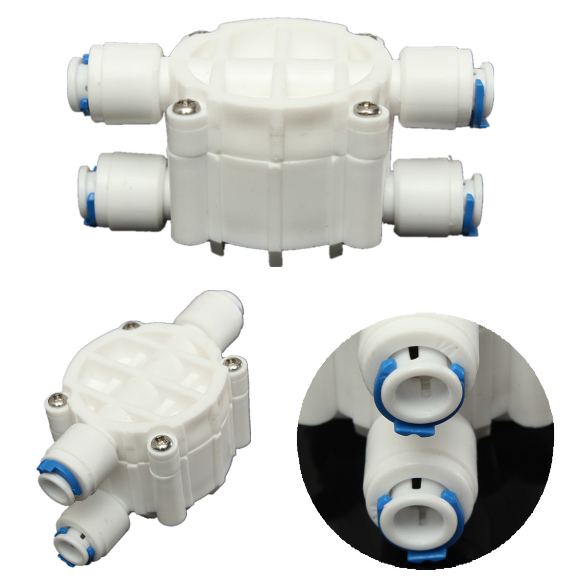 1 4 39 39 port 4 way auto shut off valve for ro reverse osmosis water filter system ebay. Black Bedroom Furniture Sets. Home Design Ideas