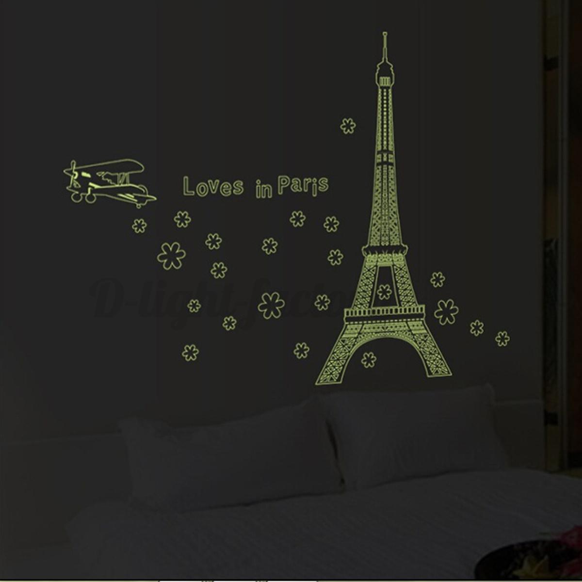 Paris tour eiffel nuit fluorescent autocollant stickers for Deco autocollant mural
