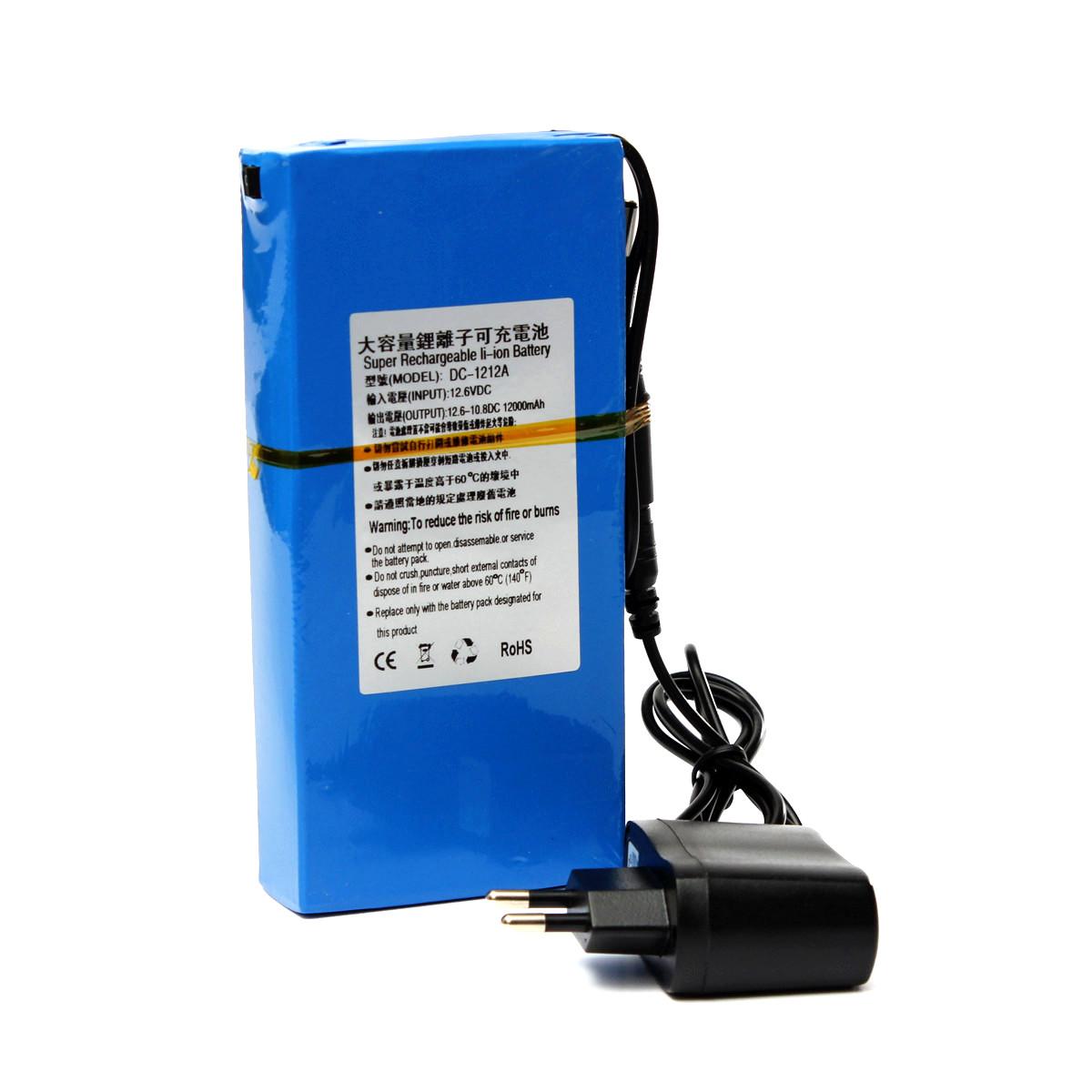 portable 12v 12000mah li ion super rechargeable battery pack with plug for cctv ebay. Black Bedroom Furniture Sets. Home Design Ideas
