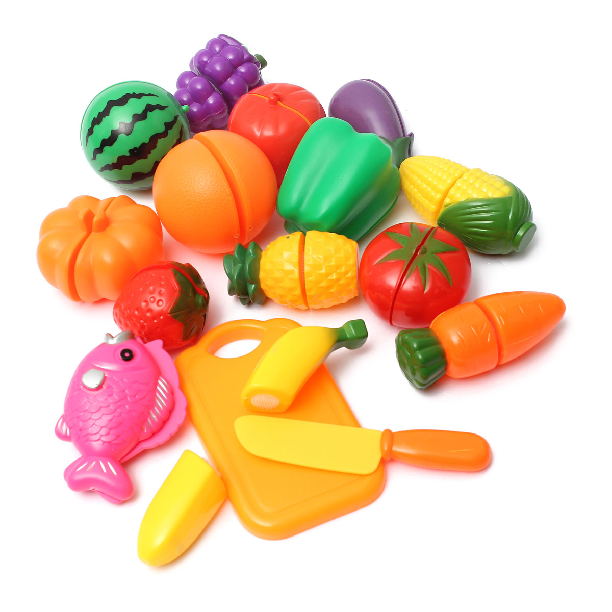 kids pretend role play kitchen fruit vegetable food toys cutting set