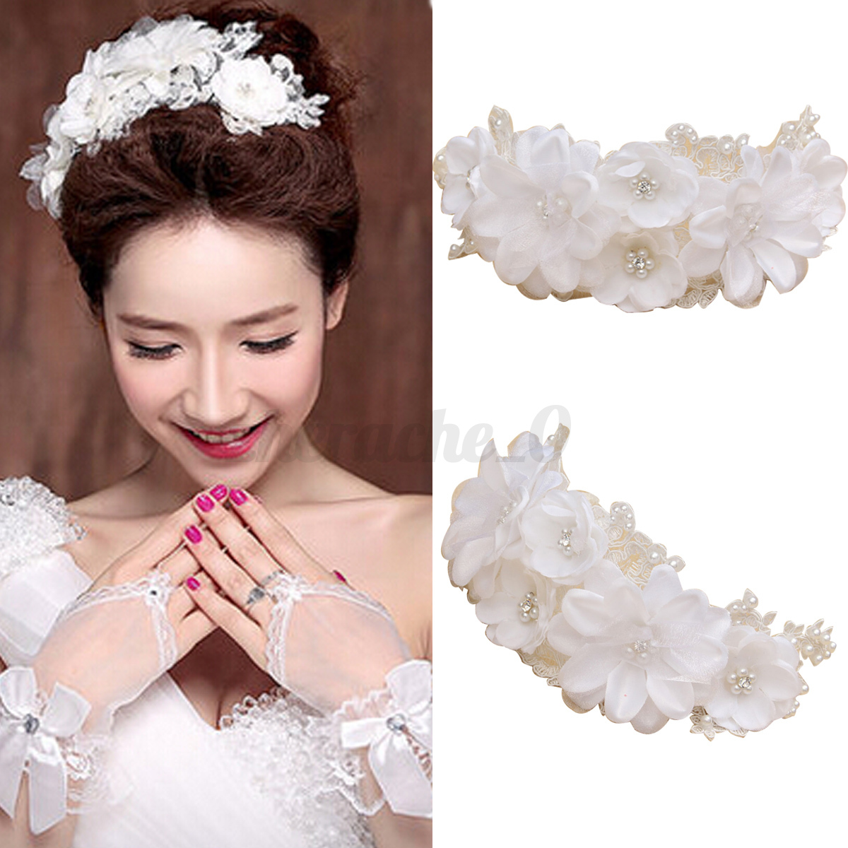 Floral Lace Headpiece For Wedding: Pearls Flower Lace Wedding Bridal Headband Headpiece