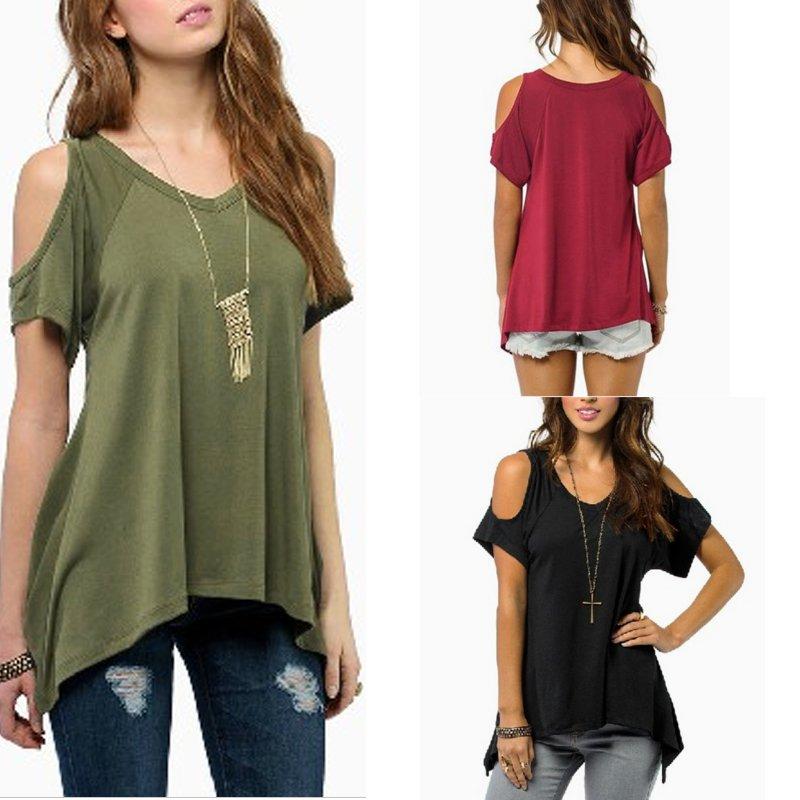 e905d69cdcfa4 Women Casual Cold Off Shoulder Loose Short Sleeve Top T-Shirt Tee ...