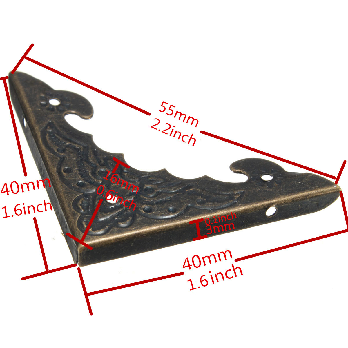 12PCS Vintage Antique Brass Jewelry Wine Gift Box Decor Wooden Corner Protector 6