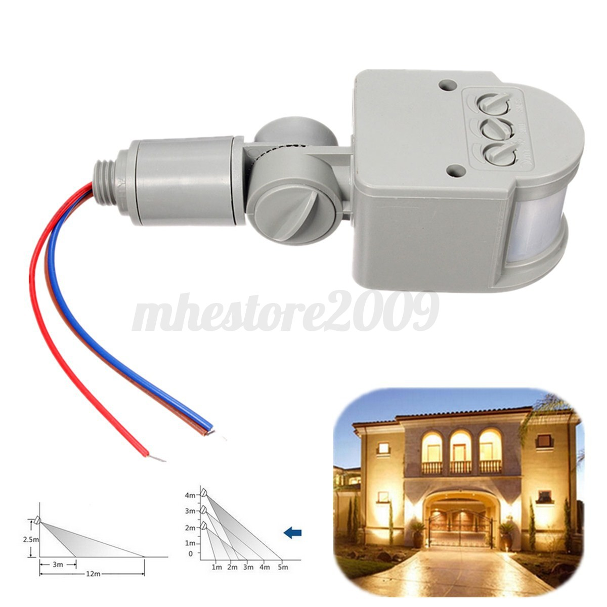 Outdoor motion sensor light adjustable for time and distance outdoor - 180 176 12m Outdoor Security Pir Infrared Motion Sensor