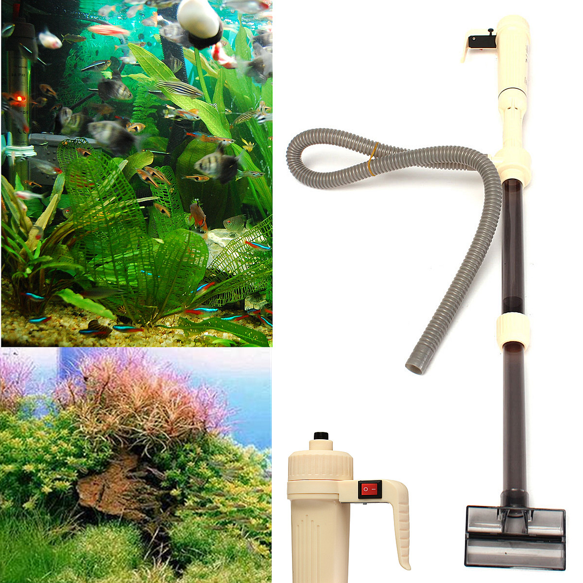 Aquarium fish tank battery vacuum syphon cleaner review - Detail Image