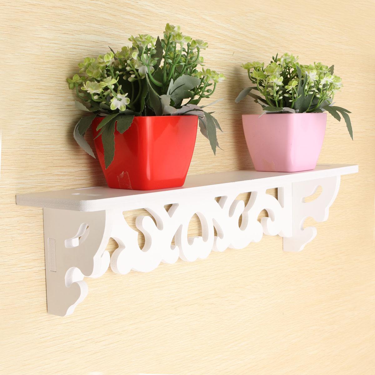 White-Wooden-Wall-Mounted-Shelf-Display-Hanging-Rack-Storage-Holder-Home-Decor