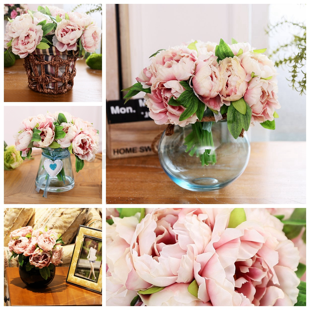 Image Is Loading 5 Heads Silk Fake Artificial Peony Flower Bouquet