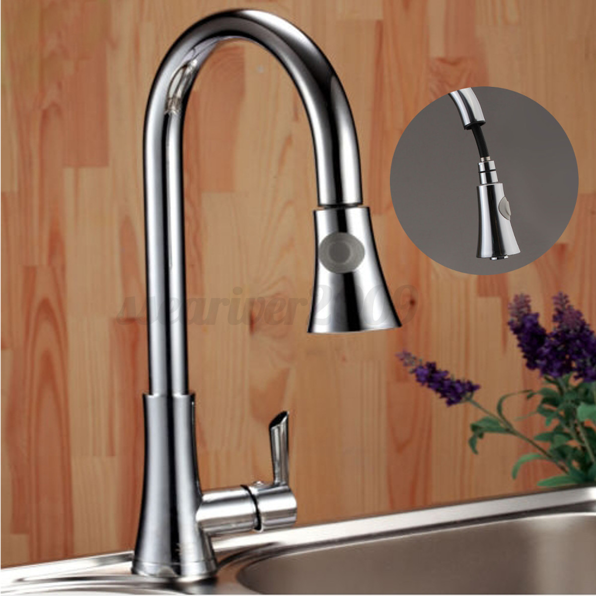 Kitchen Sink Faucet Pull Out Faucet Mixer Valve Single: 18'' Chrome Brass 360°Swivel Pull Out Kitchen Sink Single