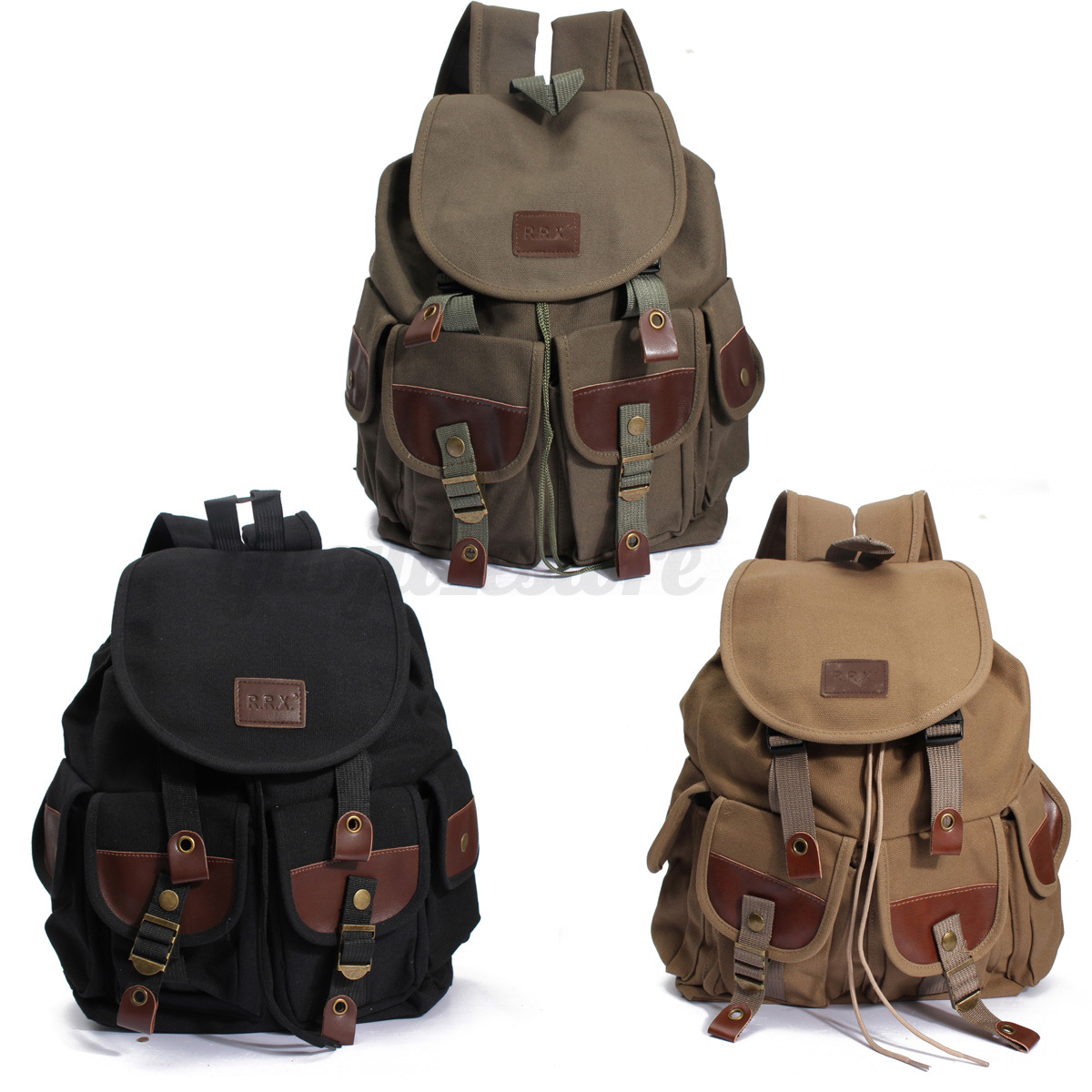 rucksack canvas leder schulranze sporttasche schule wandern milit r damen herren ebay. Black Bedroom Furniture Sets. Home Design Ideas