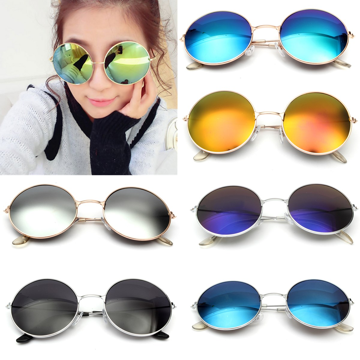 Retro Vintage Men Women Big Round Metal Frame Sunglasses Glasses ...