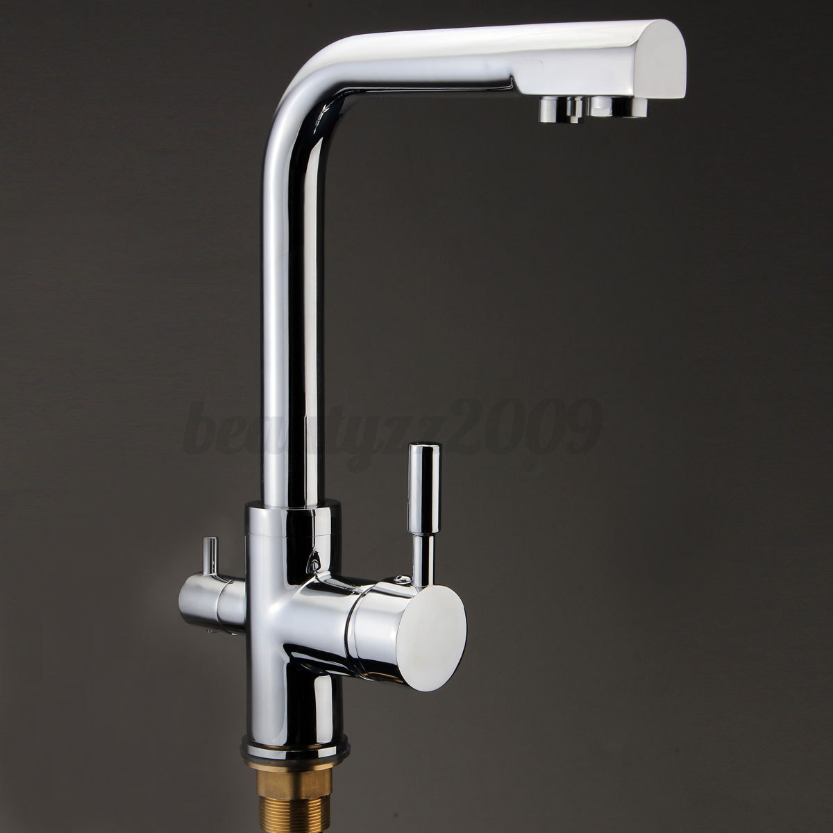 3 Way Dual Handles Kitchen Sink Faucet Pure Water Filter