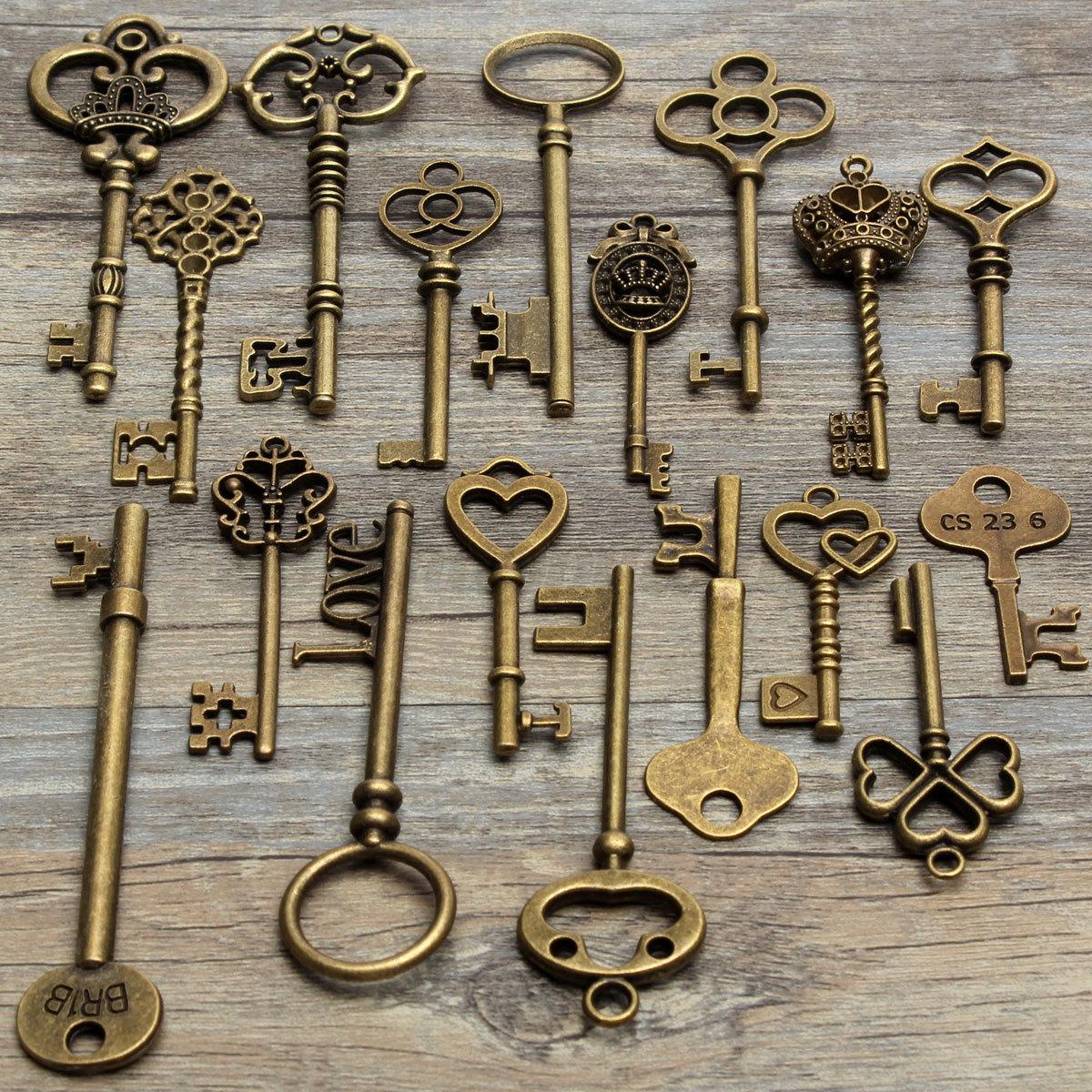 70Pcs Vintage Antique Old Look Bronze Skeleton Key Fancy Heart Bow Pendant
