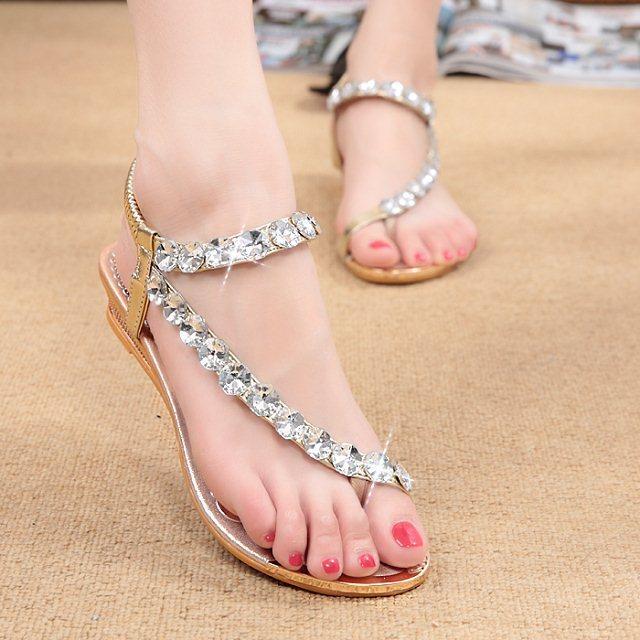 e461d3df81883 Womens Low Wedge Buckle Silver Diamante Rhinestone Toe Post Sandals ...
