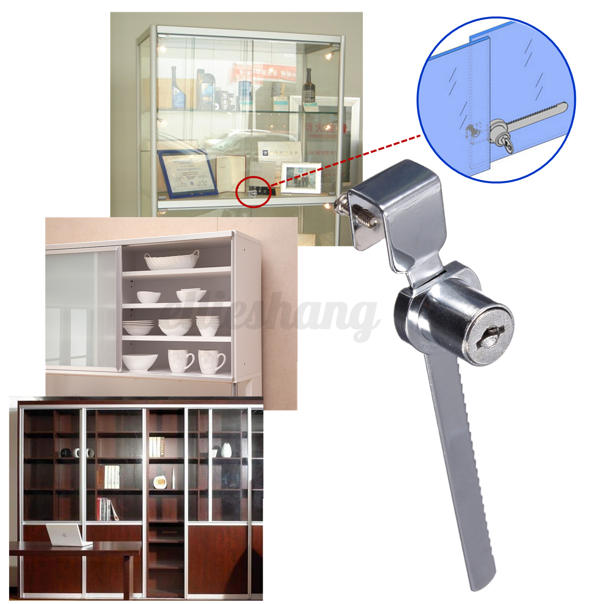 Display case showcase sliding glass cabinet door cam lock for Cam lock kitchen cabinets