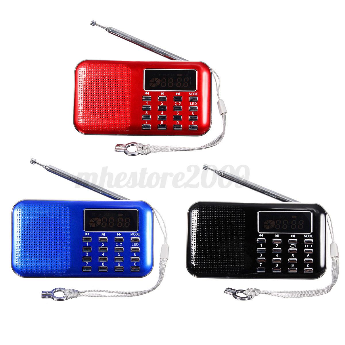 lcd digital auto mini fm radio speaker usb micro sd tf. Black Bedroom Furniture Sets. Home Design Ideas