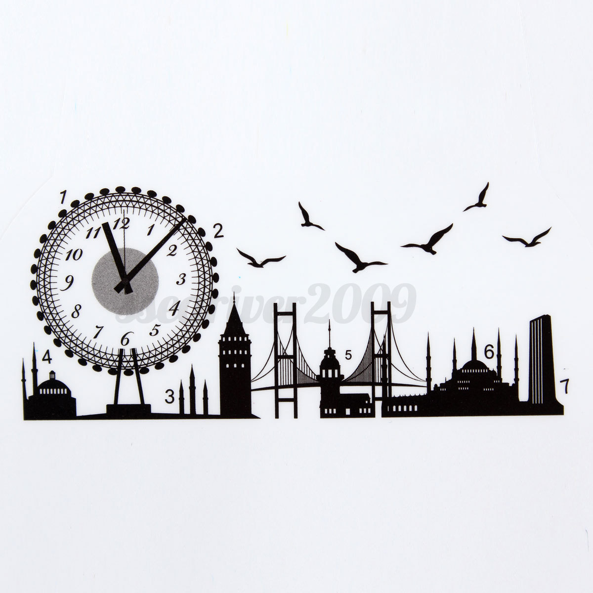 Modern Art Decor Wall Clock Sticker : Modern style diy clock wall sticker decal art