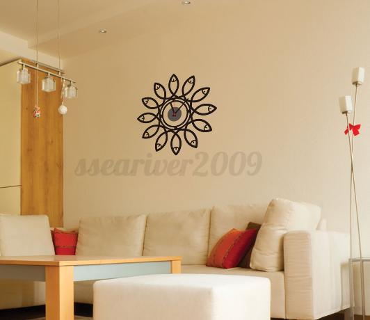 Modern Style DIY Clock Wall Sticker Wall Clock Decal Art PVC Home ...