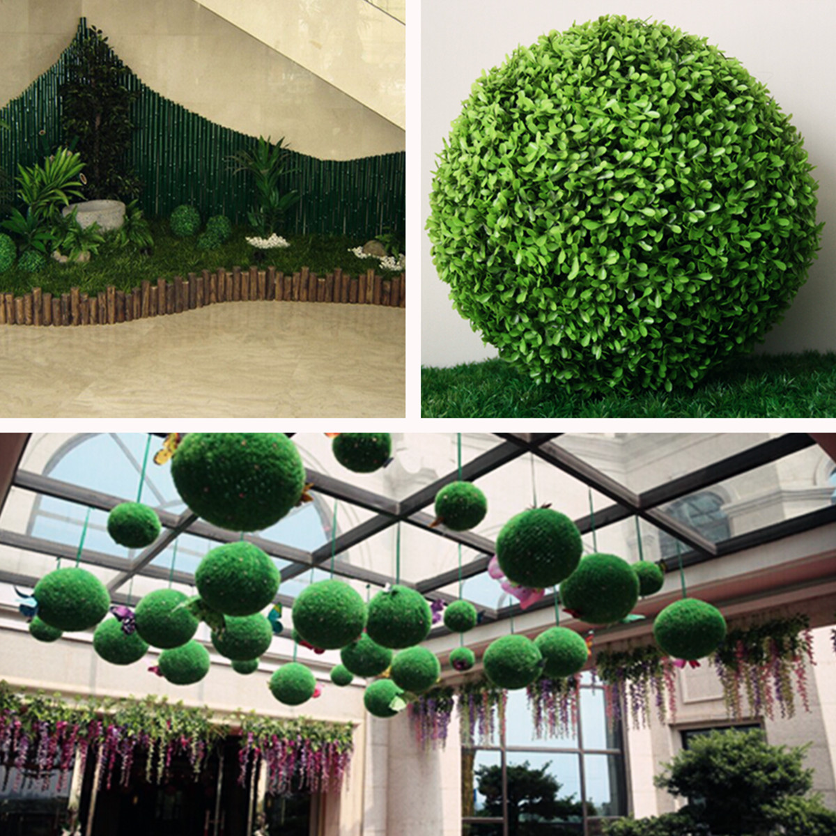 1/2/4X Plastic Topiary 28cm Leaf Effect Grass Ball Hanging Home ...