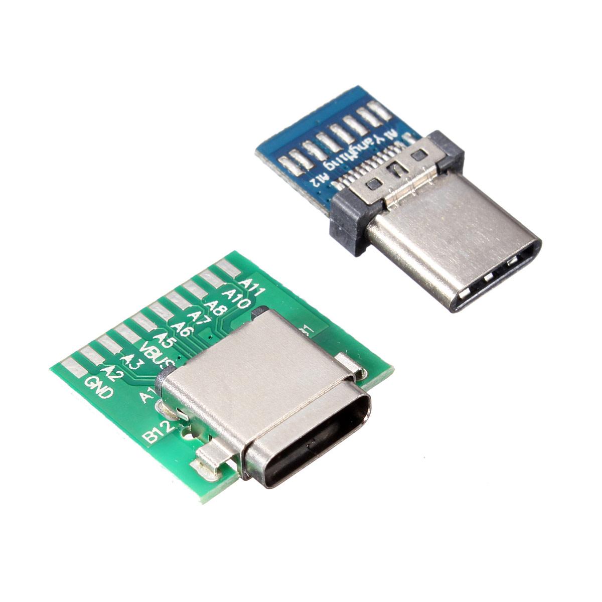 Diy 24 Pin Usb 3 1 Type C Male Female Plug Socket