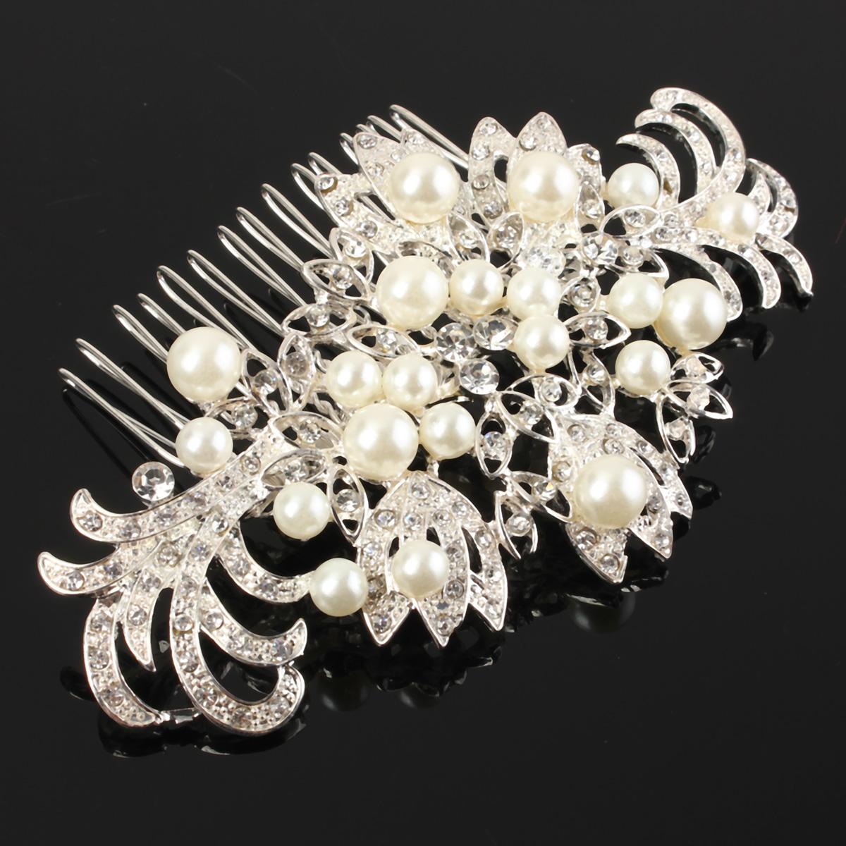 flower pearl rhinestone wedding prom bridal hair clip tiara