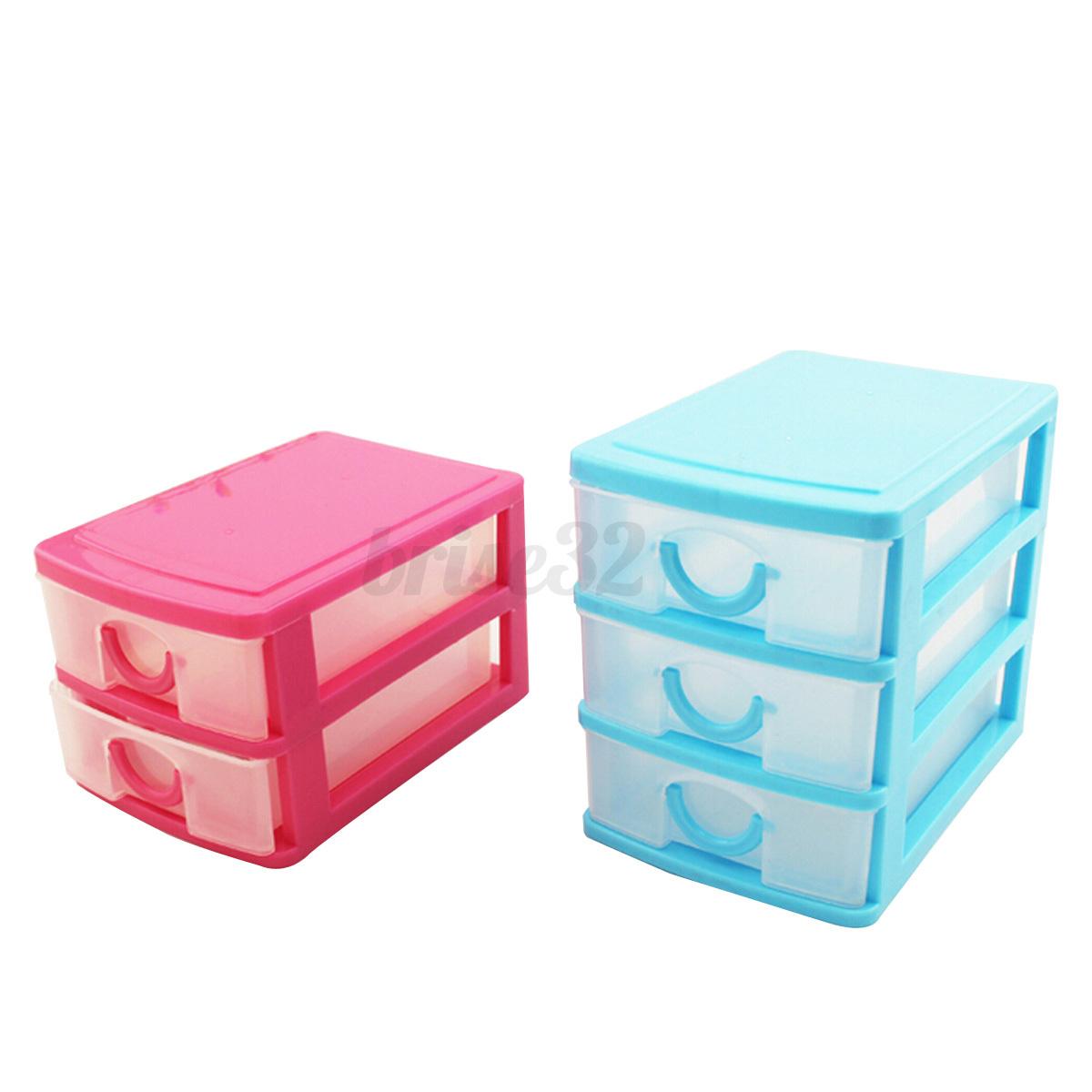 desktop storage box 2 or 3 drawers jewelry organizer holder cabinets case bins ebay. Black Bedroom Furniture Sets. Home Design Ideas