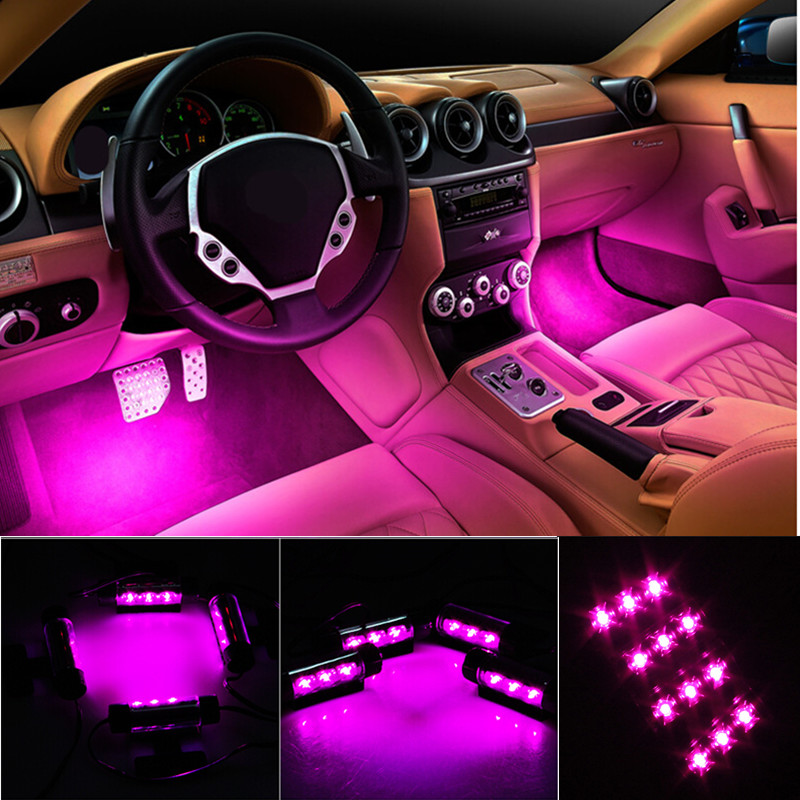 4x 3 Led Car Charge 12v Auto Glow Interior Decorative 4in1