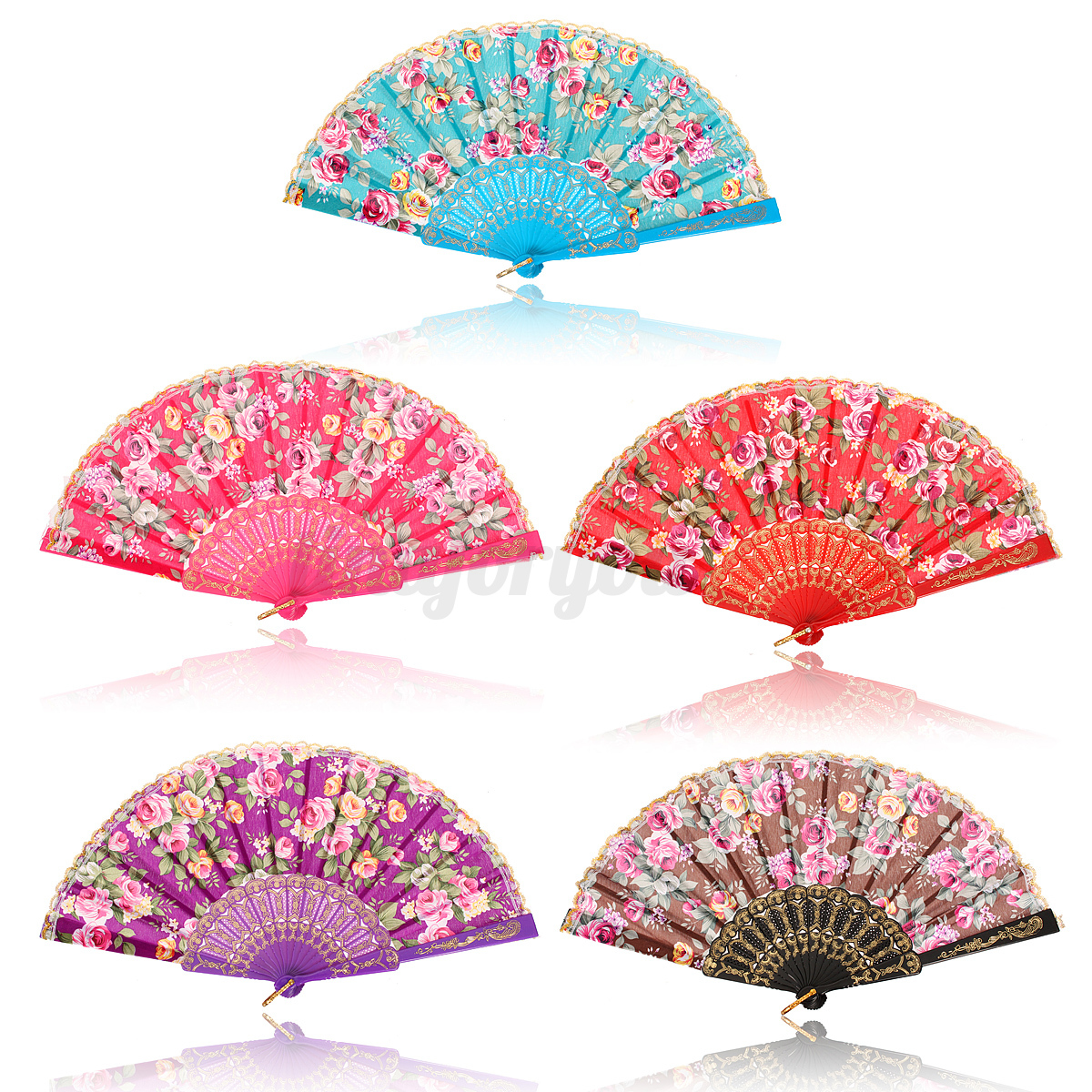 VINTAGE CHINESE Folding Bamboo Cloth Hand Held Pocket Fan Wedding ...