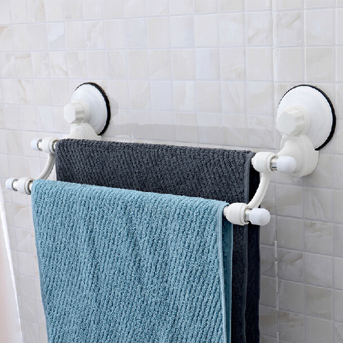 18.5\'\' Suction Cup Wall Mounted Bathroom Towel Rail Holder Storage ...