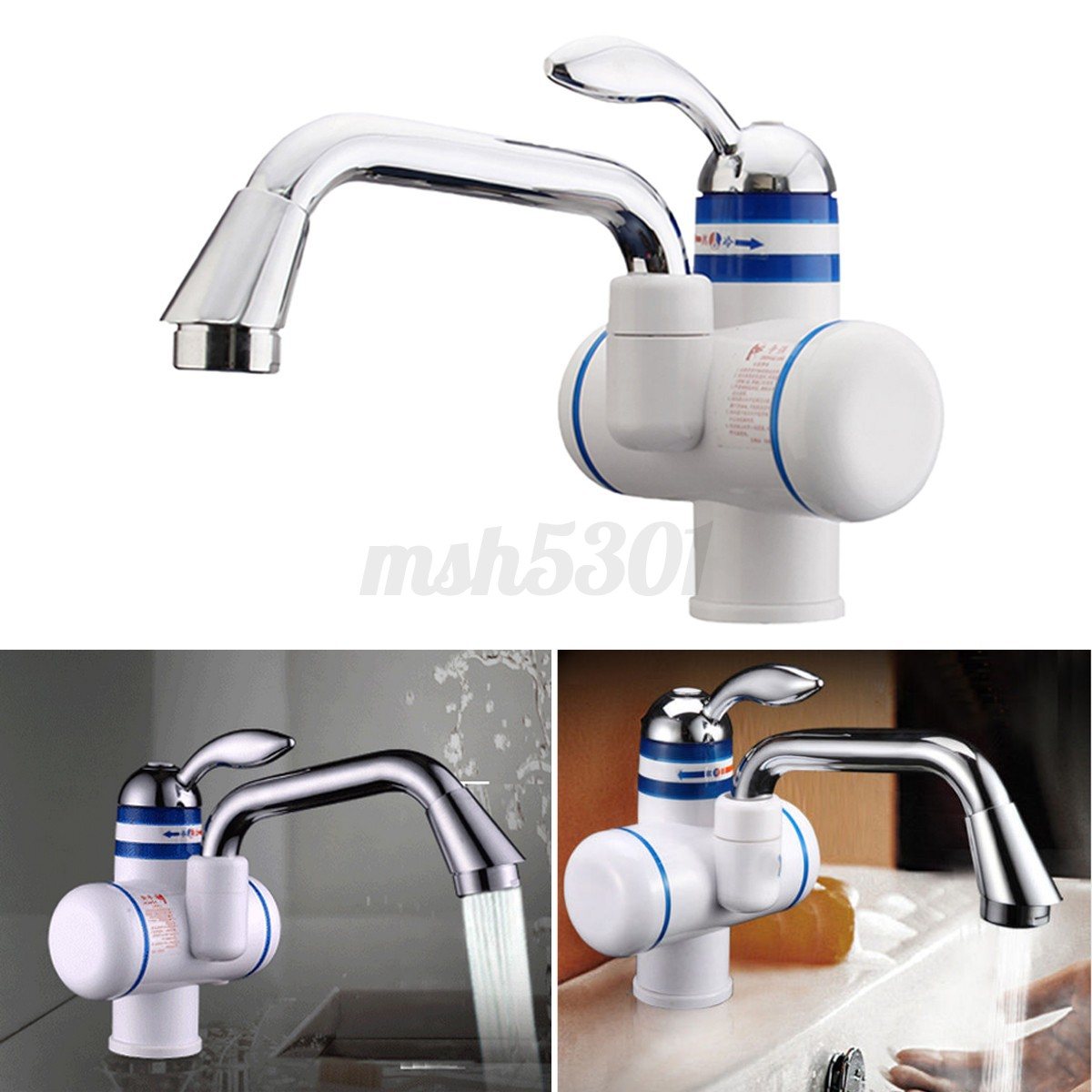 Bathroom sink faucet one hole double handle basin mixer tap ebay - Image Is Loading Instant Electric Hot Water Heater Faucet Bathroom Kitchen