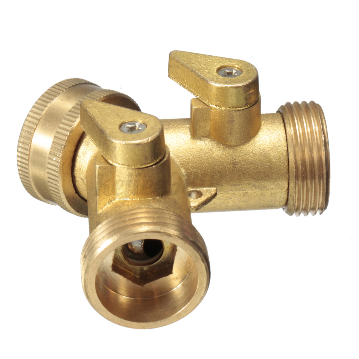3 4 solid brass double two way garden tap connector. Black Bedroom Furniture Sets. Home Design Ideas