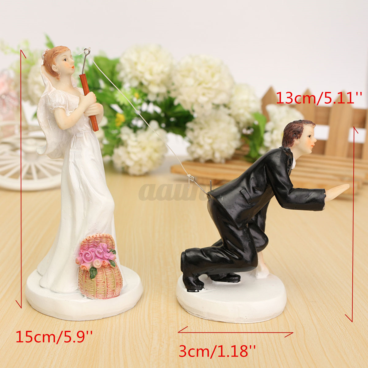 Romantic Bride Groom Couple Resin Figurine Wedding Cake Topper Decor ...